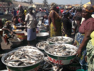 Women selling fish in Elmina Market in the Western Region