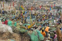 Fishermen in the Elmina Castle harbour.