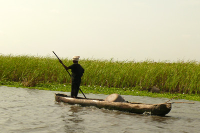 Artisanal fisherman on lake Boko in Togo