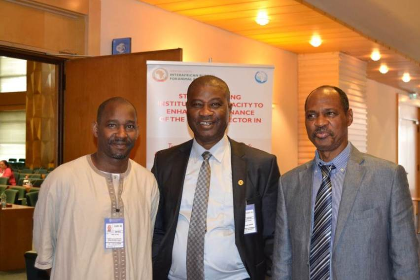Photo of Dr Hamady Diop (Head of NEPAD's Natural Resources Governance Programme); Mr Obinna Anozie (AU-IBAR's Fisheries and Aquaculture Policy Analyst); Ambassador Haladou Salha (AU-NEPAD Senior Advisor to Rome-based African Ambassadors)