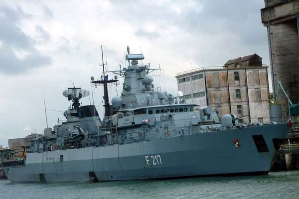 German marine vessel F217 that docked at Mbaraki, near Likoni ferry channel on October 19, 2011. Plans to build an academy to train police on combating sea crime are underway. PHOTO | LABAN WALLOGA | NATION MEDIA GROUP