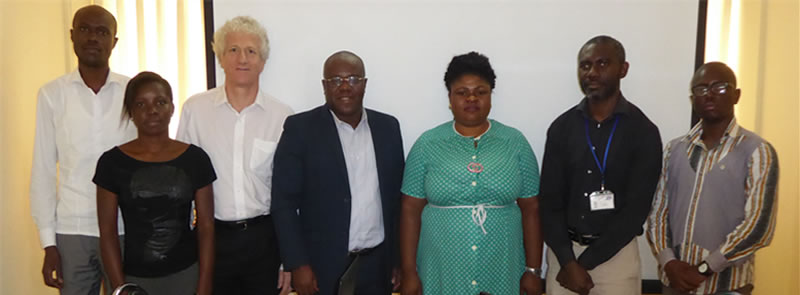 Photo- Mrs Benoist BAZIN, Christopher ACKON (EU representatives), Mr Seraphin Dedi (FCWC Secretary General) and FCWC personnel