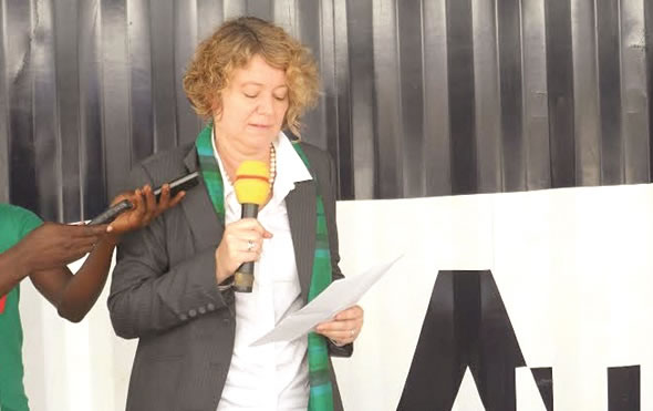 Madam Tove Degnbol, Royal Danish Ambassador to Ghana, explaining a point at the event.