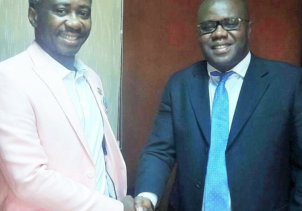 Commissioner Kollie Jr (left) welcomes to his office the Secretary General of the FCWC, Mr. Seraphin Dedi Nadje