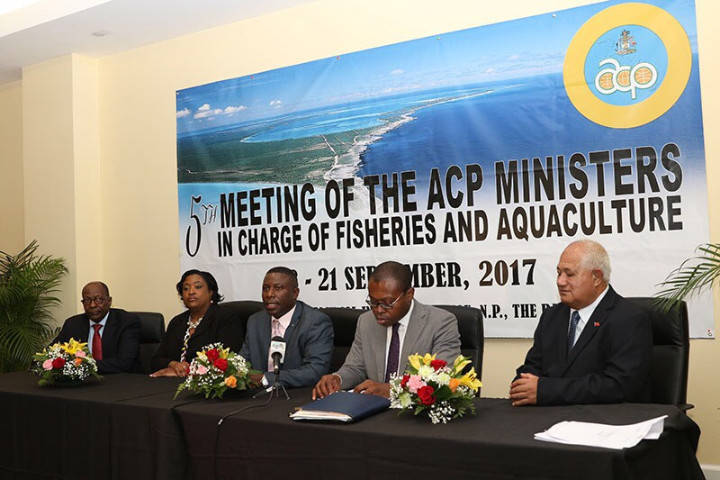 At the Press Conference at Closure of the 5th Meeting of ACP (Africa, Caribbean, and Pacific) Ministers of Fisheries and Aquaculture, September 21, 2017 – Chairman of the meeting, Bahamas Minister of Agriculture and Marine Resources the Hon. Renward Wells addresses the media. At the table, the group pictured from left: Dr. Kaire Mbuende, Chairman of ACP Working Group on Fisheries; Phaedra Rahming, Permanent Secretary, Bahamas Ministry of Agriculture and Marine Resources; Minister Renward Wells; Mr. Viwanou Gnassounou, ACP Assistant Secretary General; and the Hon. Lopaoo Natanielu Mua, Minister of Agriculture and Fisheries of Samoa. (BIS Photos/Raymond A. Bethel Sr.)