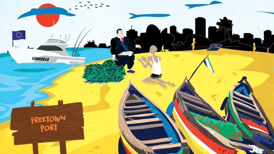 free town beach illustration
