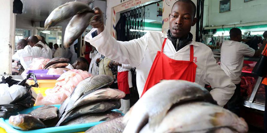 Fish vendor David Khamati at the City Market in Nairobi. FILE PHOTO | NMG
