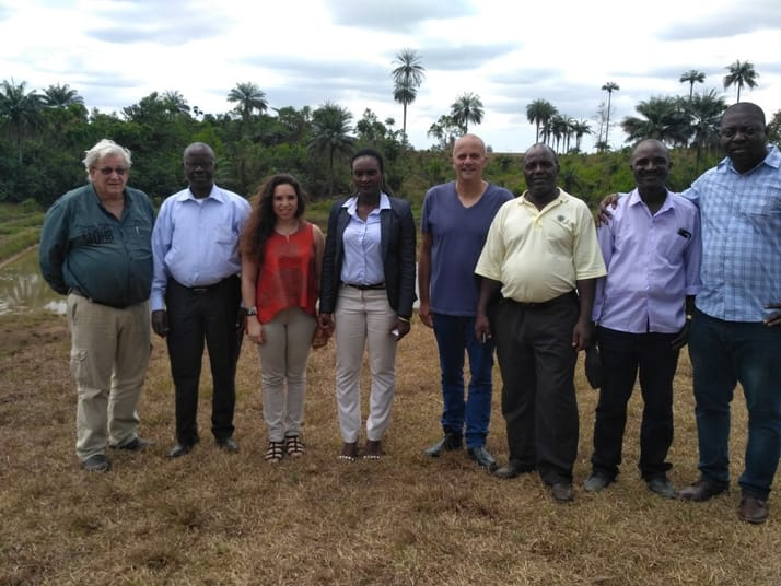 Dana Chocron, (third from left), and Ms Emma Blassco (fourth from left), with Israeli experts and Liberian aquaculture officials