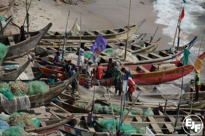 The illegal practice of 'saiko' – where industrial trawlers sell fish to local canoes at sea - is undermining the livelihoods of Ghana's traditional fishermen © Environmental Justice Foundation
