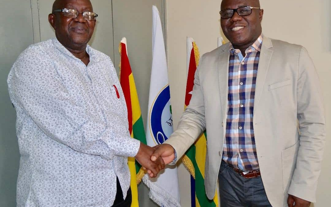 Photo of Dr. Mohammed Seisay, Senior Fisheries Officer at AU-IBAR (on the left ) and Mr Seraphin Dedi, General Secretary of FCWC on the right