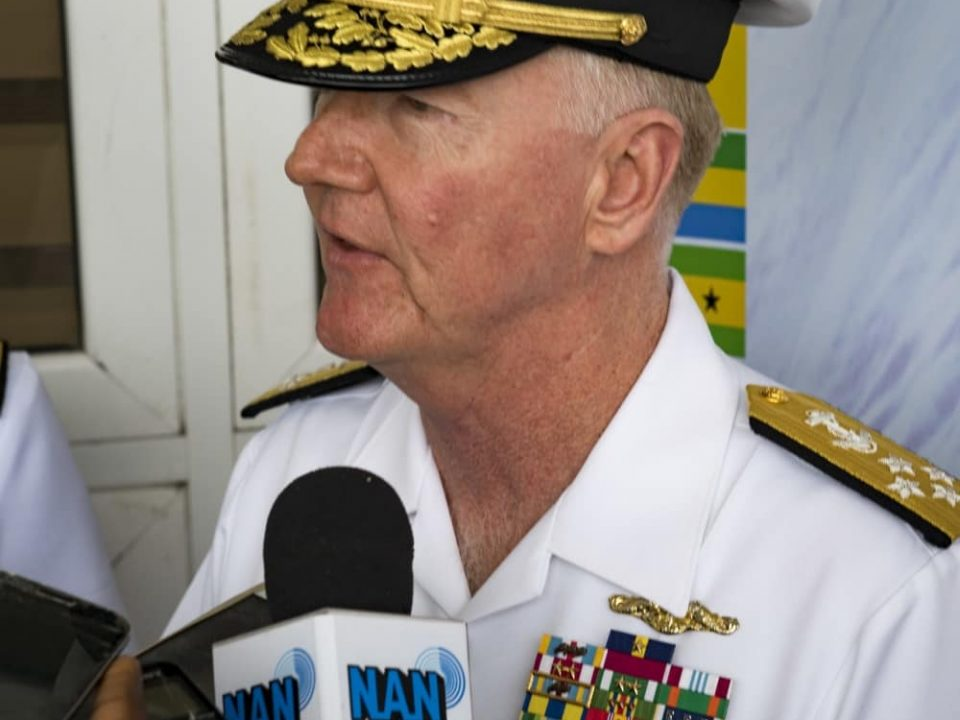 Photo By Petty Officer 1st Class Kyle Steckler | 190322-N-RG482-0429 LAGOS, Nigeria (March 22, 2019) Adm. James G. Foggo III, commander of U.S. Naval Forces Europe-Africa and Allied Joint Force Command Naples, Italy, speaks at a press conference after the closing ceremony of exercise Obangame Express 2019 in Lagos, Nigeria, March 22, 2019. Obangame Express, sponsored by U.S. Africa Command, is designed to improve regional cooperation, maritime domain awareness, information-sharing practices, and tactical interdiction expertise to enhance the collective capabilities of Gulf of Guinea and West African nations to counter sea-based illicit activity. (U.S. Navy photo by Mass Communication Specialist 1st Class Kyle Steckler/Released)