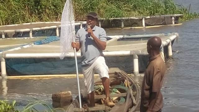 Nigeria: Cage Culturist, Nurudeen Tiamiyu, facilitating at the APPEALS training for Aquaculturists, at Topo, Badagry, Lagos State.