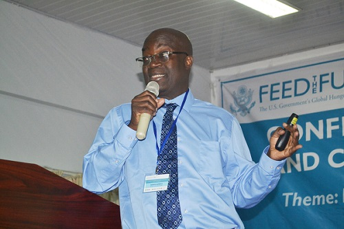 Ghana Prof Rashid Sumaila (inset) addressing participants at the conference - Photo Victor A. Buxton