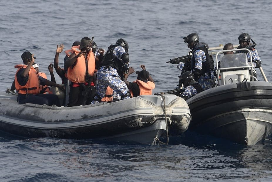 Ivorian sailors participate in an anti-piracy hostage rescue scenario with the Ghanaian Navy during Exercise Obangame Express. Wikimedia Commons