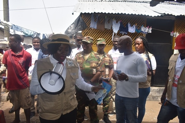 Liberia NaFAA Boss speaking in West point Fishing Community