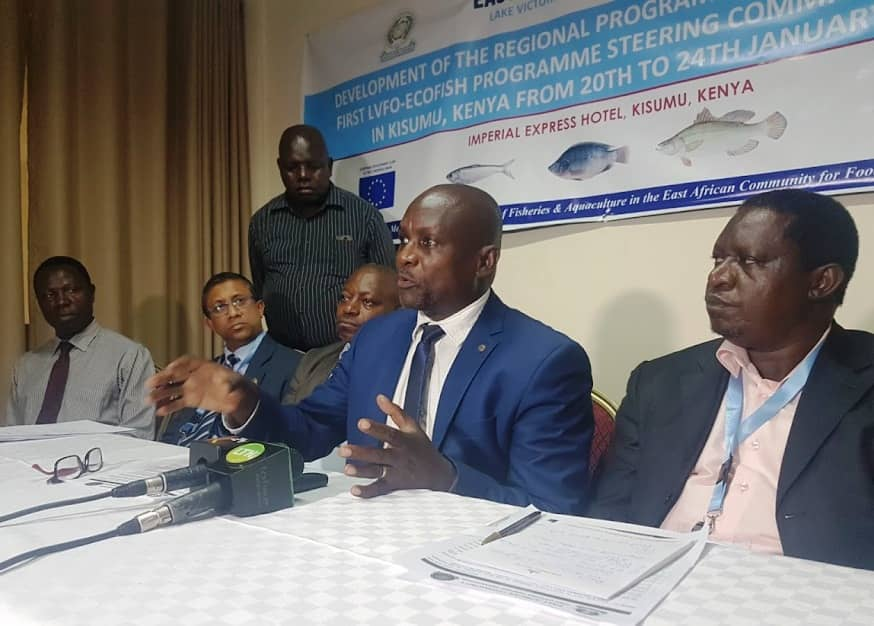 SUSTAINABLE FISHING: LVFO Deputy Executive Secretary Anthony Munyaho with Kenya's Deputy Director of Fisheries and Blue Economy Rodrick Kundu during the first ecofish regional programme steering committee meeting in Kisumu. Image: MAURICE ALAL