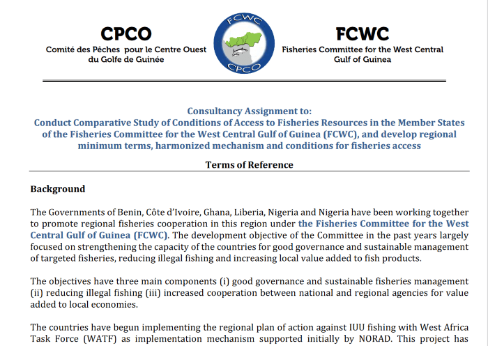 FCWC-TDRs on study on MTCs of access to fisheries in FCWC region - Consultancy Assignment1-min