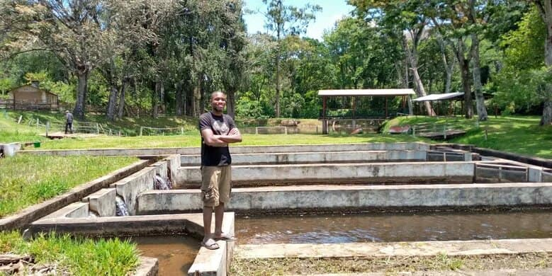 Precious Sanjama at a tilapia hatchery in southern Malawi