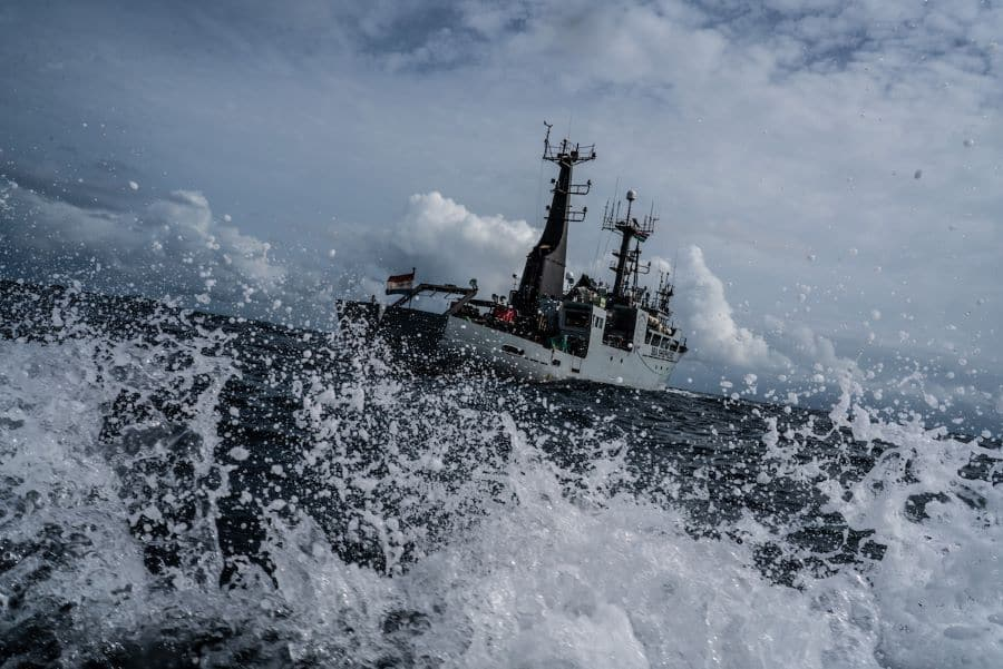 The Sea Shepherd's vessel, an one-hundred-and-eighty-four-foot ship called the Sam Simon (Photo: Fábio Nascimento / The Outlaw Ocean Project)
